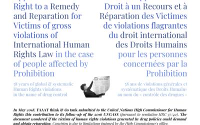 Application du Droit à un Recours et à Réparation des Victimes de violations flagrantes du droit international des Droits Humains pour les personnes concernées par la Prohibition