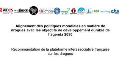 Alignement des politiques mondiales en matière de drogues avec les objectifs de développement durable de  l'agenda 2030
