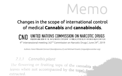Memo: Changes in the scope of international control of medical Cannabis and cannabinoids